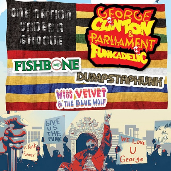 One Nation Under a Groove Tour Poster George Clinton Miss Velvet and The Blue Wolf Tour