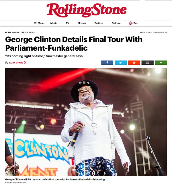 Rolling Stone 2-2019 George Clinton Miss Velvet and The Blue Wolf Tour Announcement