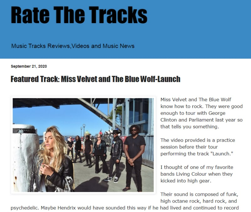 Miss Velvet and The Blue Wolf - Launch - Rate the Tracks Review